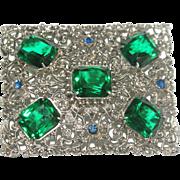 Fred Gray Filigree Emerald Cut Green Stones Pin Brooch 1930s