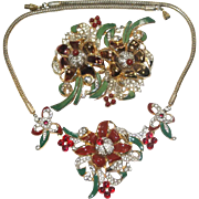 Rare Coro Floral Enamel Rhinestone Duette Necklace Set Bk Pc