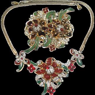 Rare Coro Floral Enamel Rhinestone Duette Necklace Set Bk Pc