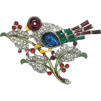 Trifari Bird on a Branch Enamel Rhinestone Pin Brooch 1940 BK Pc