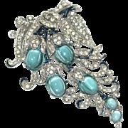 Trifari Floral Aqua Cabochon Rhinestone Fur Clip Pin 1940