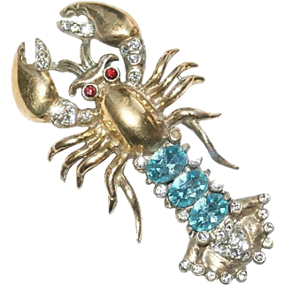 Coro Craft Sterling Rhinestone Lobster Pin Brooch 1940's Ad Pc