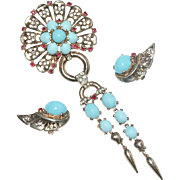 Trifari Sterling Turquoise Cabochon Rhinestone Dangle Pin Brooch Earrings Set 1940's