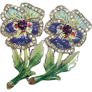 Coro Floral Enamel Rhinestone Duette Pin 1940's Bk Pc