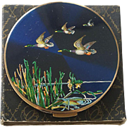 Unused Stratton Blue Flying Ducks Powder Compact Ad Pc Bk Pc