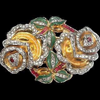 Coro Floral Enamel Rhinestone Duette Pin Bk Pc