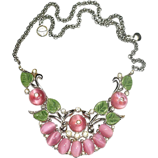 Coro Pink Shoe Button Enamel Rhinestone Necklace