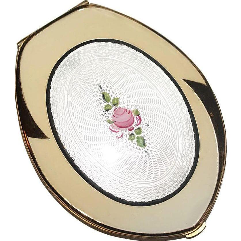 Bijoux American Vintage : Elgin american guilloche enamel compact unused luminous