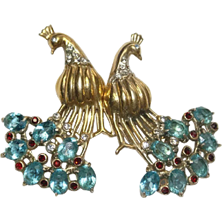 Coro Sterling Aqua Peacocks Birds  Duette 1940s Bk Pc Ad Pc