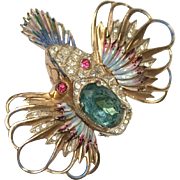 Coro Sterling Rockfish Pin Brooch 1940s