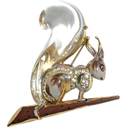 Coro Craft Sterling Jelly Belly Squirrel 1940s Bk Pc