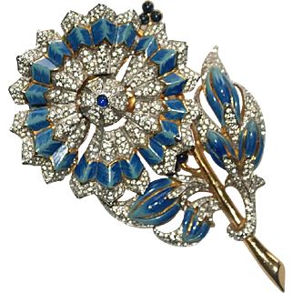 Rare Coro Day Night Enamel Rhinestone Floral Pin Brooch 1940