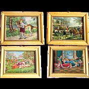 Set of 4 Vintage Pictures in wooden frame, Old printings, Old paintings