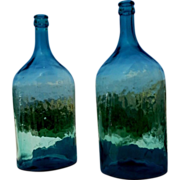 Set of two Italian glass carboys, big bottle, glass demijohns