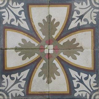 Set of 4 Antique cement tiles