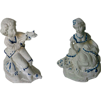 Vintage Italian Capodimonte Porcelain Couple of Lady and Man Lovers