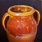 Antique terracotta glazed pot XIX century