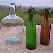 Lovely set of three Vintage Glass Bottles: Vintage wine and beer bottle of Green and Brown Glass