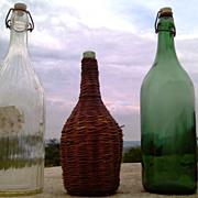 Very Cool Set of Vintage Glass Bottles: Vintage Milk Bottle, Vintage Wine Flask and Green Wine Bottle