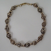 "Intricate Vintage 14K Yellow Gold & Sterling 7.5"" Bracelet BEAUTIFUL! 13.7 Grams"