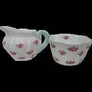 Vintage Shelley Rosebud 13426 Open Sugar Bowl and 6 oz Creamer