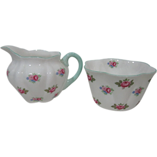 Vintage Shelley Rosebud 13426 Open Sugar Bowl and 6 oz Creamer
