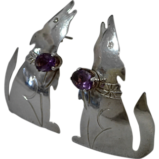 Vintage Sterling Earrings Howling Wolf With Amethyst Gemstones