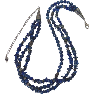 "Beautiful Vintage Southwestern Design Denim Lapis With Sterling Accents 20"" Necklace"