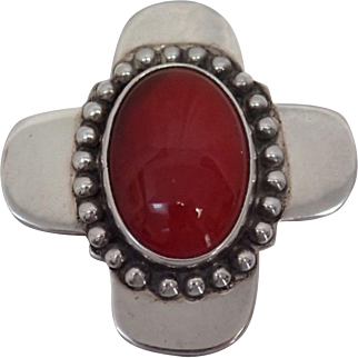 Beautiful Vintage Heavy Sterling Silver 925 Mexico Pendant With Carnelian Stone 26.5 Grams