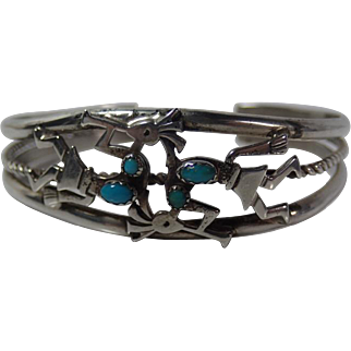 Vintage Signed R Bennett Native American Sterling Kokopelli Turquoise Cuff Bracelet