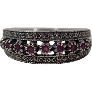 Stunning Sterling 925 Band With 9 Rubies and Marcasites Size 7