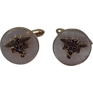 Vintage Swank Nurse RN Cufflinks Goldtone With MOP