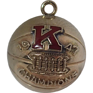 Vintage 10K Gold Dated 1947 K Champions Basketball Charm 5.3 Grams