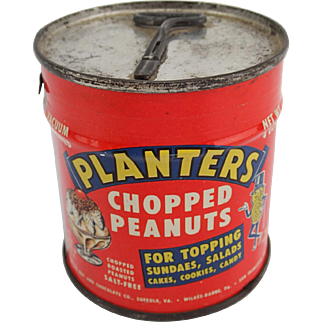 Vintage 1952 Planters Chopped Peanuts Tin Can RARE Never Opened Bright Colors