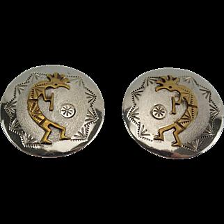 Vintage Sterling Pierced Earrings With Gold Overlay Kokopelli Design Virgil Reeder IHMSS