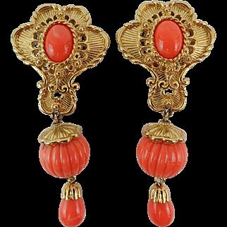 Gorgeous Vintage Jose & Maria Barrera Faux Coral Goldtone Bold Drop Clip Earrings