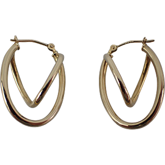 Unusual Vintage 14K Yellow Gold Drop Pierced Earrings