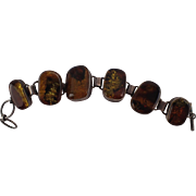 Vintage Unusual Amber & Sterling Bracelet FREE SHIPPING