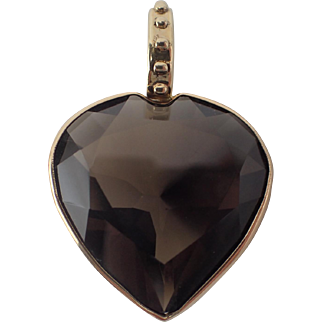 Romantic Vintage 14K Solid Gold 33 Cts Smoky Quartz Heart Shaped Pendant 9.5 Grams FREE SHIPPING
