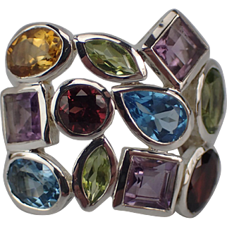 Vibrant Vintage Multi Gemstone Sterling Ring Size 8.5 FREE SHIPPING