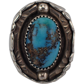 Vintage Heavy 36.4 Grams Sterling Turquoise Ring Tim Lee Whitman Navajo Size 11 FREE SHIPPING