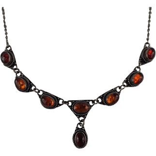 "Lovely Vintage Amber and Sterling 16"" Lavalier Necklace FREE SHIPPING"