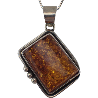 "Vintage Amber and Sterling Pendant with 15"" Old Sterling Balestra Box Chain FREE SHIPPING"