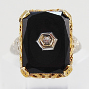 Two Tone Onyx and Diamond Filigree Ring