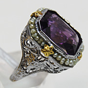 Amethyst and Seed Pearl Filigree Ring, circa 1925
