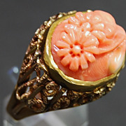 Carved Coral and Yellow Gold Ring, circa 1965