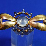 Moonstone and Sapphire Pin by Wordley, Allsop a & Bliss