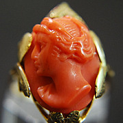 Sardinian Coral Ring in 14K