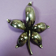 E. Dragsted Denmark Floral Pin; Sterling Silver.