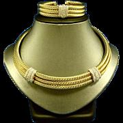 David Yurman 14k Gold with Diamonds Choker with Bracelet Set Signed Custom Set